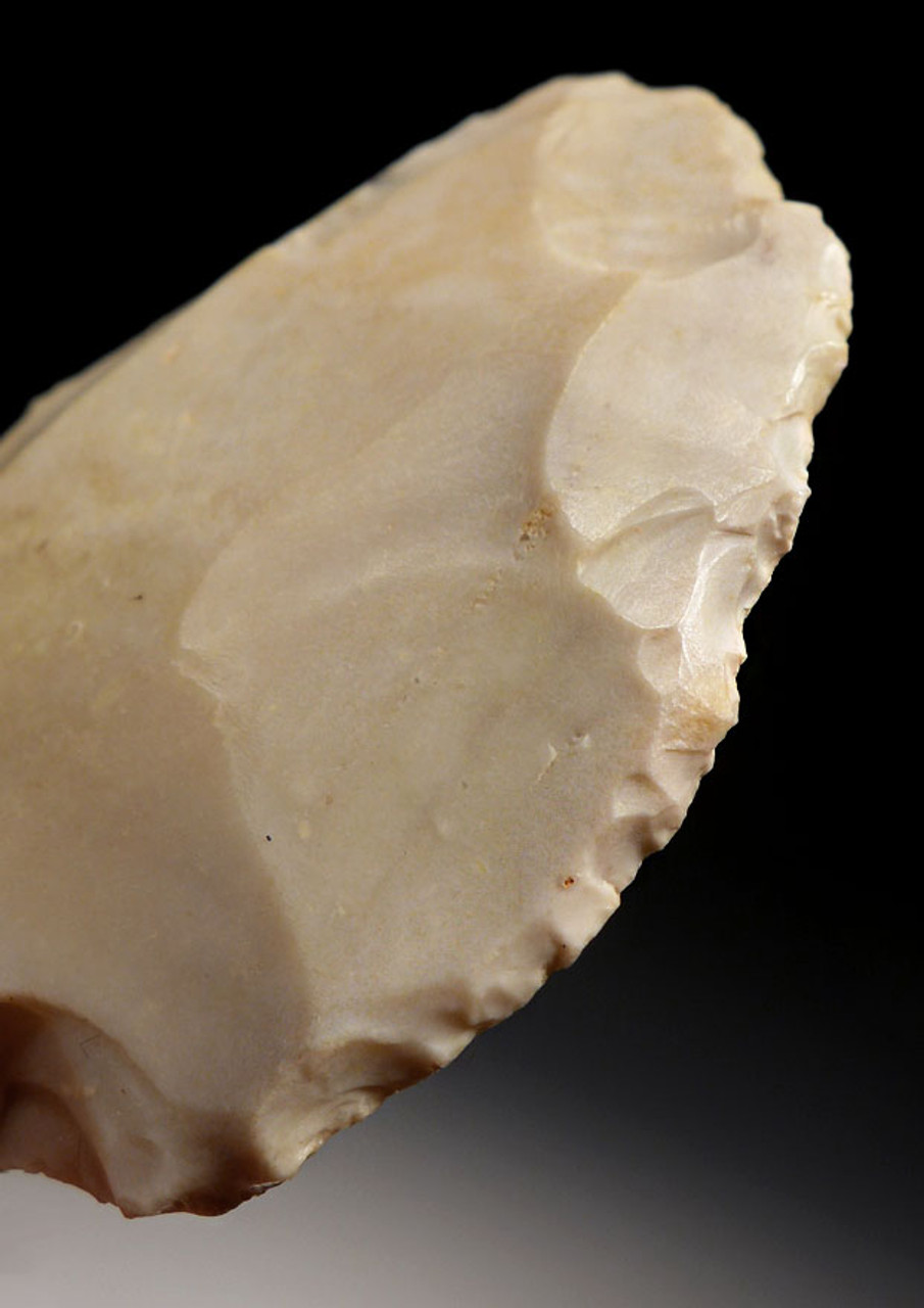 STUNNING RARE WHITE JASPER ATERIAN MIDDLE PALEOLITHIC TANGED POINT - OLDEST ARROWHEAD *AT086