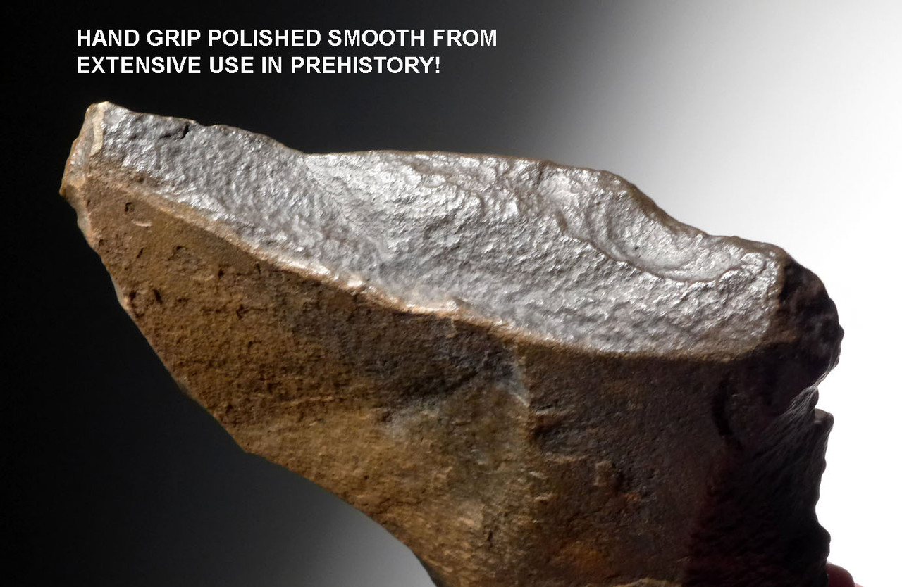 STONE AGE HAND AXE WITH INGENIUS GRIP FROM HOMO ERECTUS OF THE AFRICA ACHEULEAN *ACH284