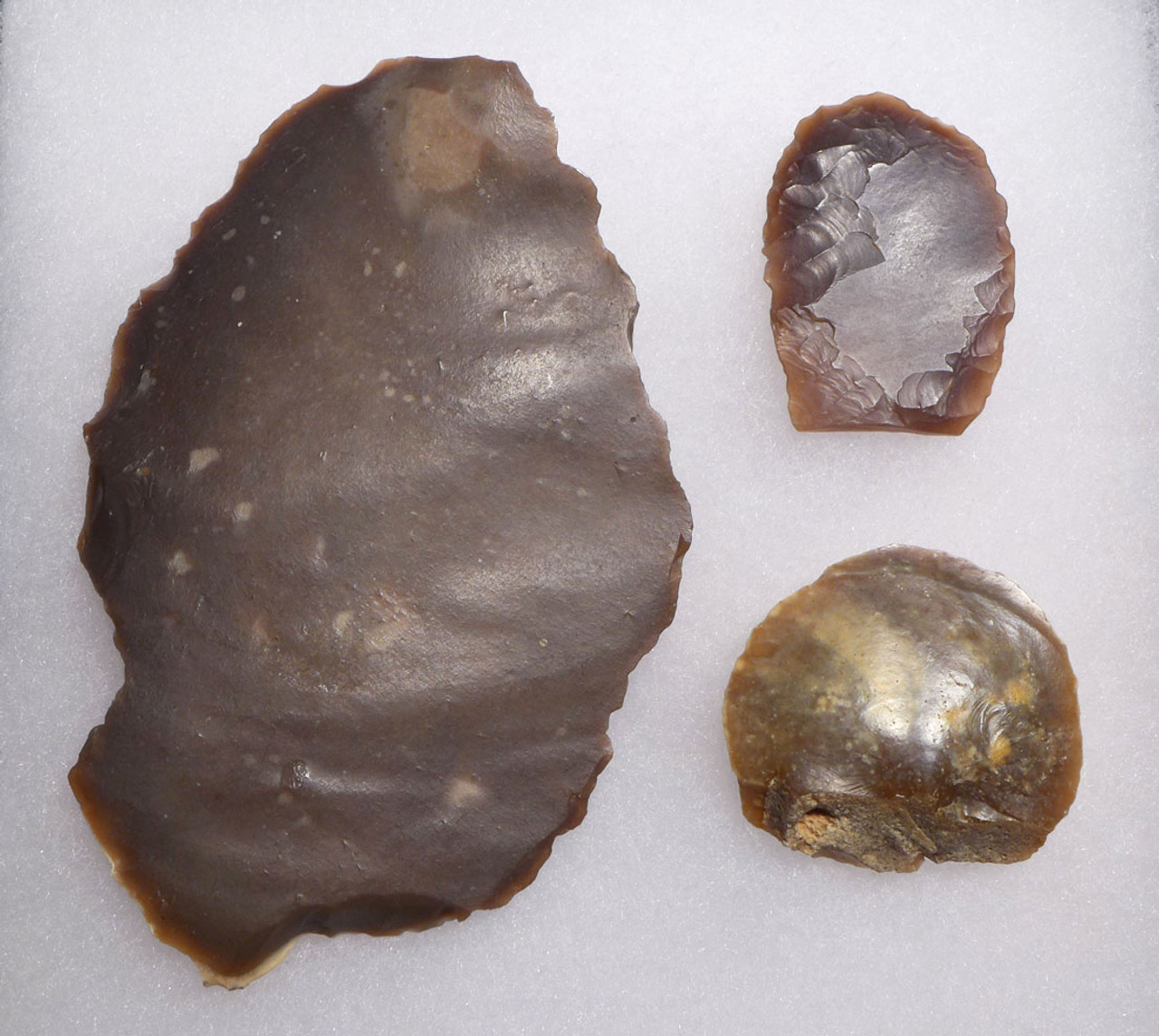 THREE FINEST FLINT SCRAPERS OF RARE TYPES FROM THE AFRICAN CAPSIAN NEOLITHIC *CAP237