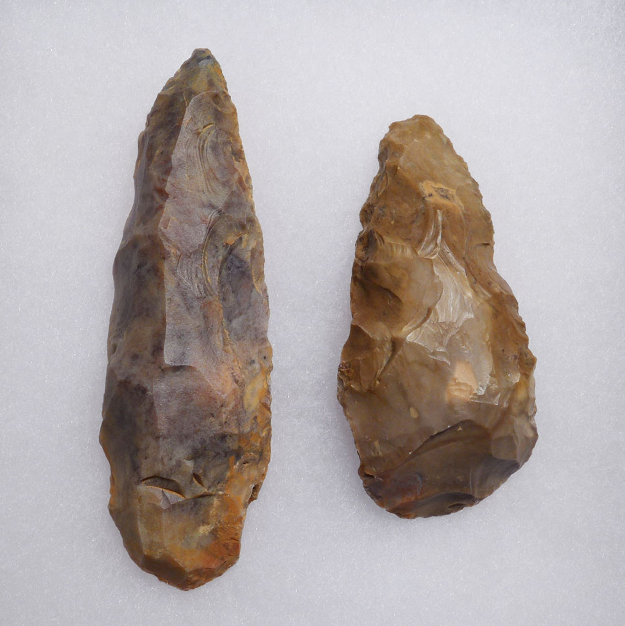 TWO CHOICE AFRICAN CAPSIAN NEOLITHIC BIFACIAL FLAKE STONE KNIVES *CAP224