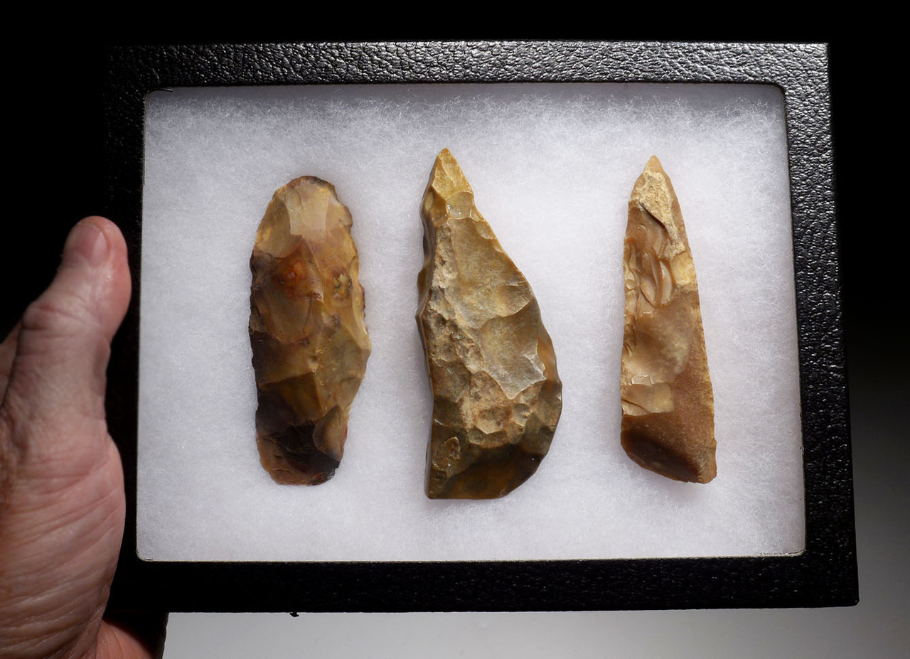 THREE MUSEUM-CLASS LARGE AFRICAN CAPSIAN NEOLITHIC FLAKE TOOLS *CAP236