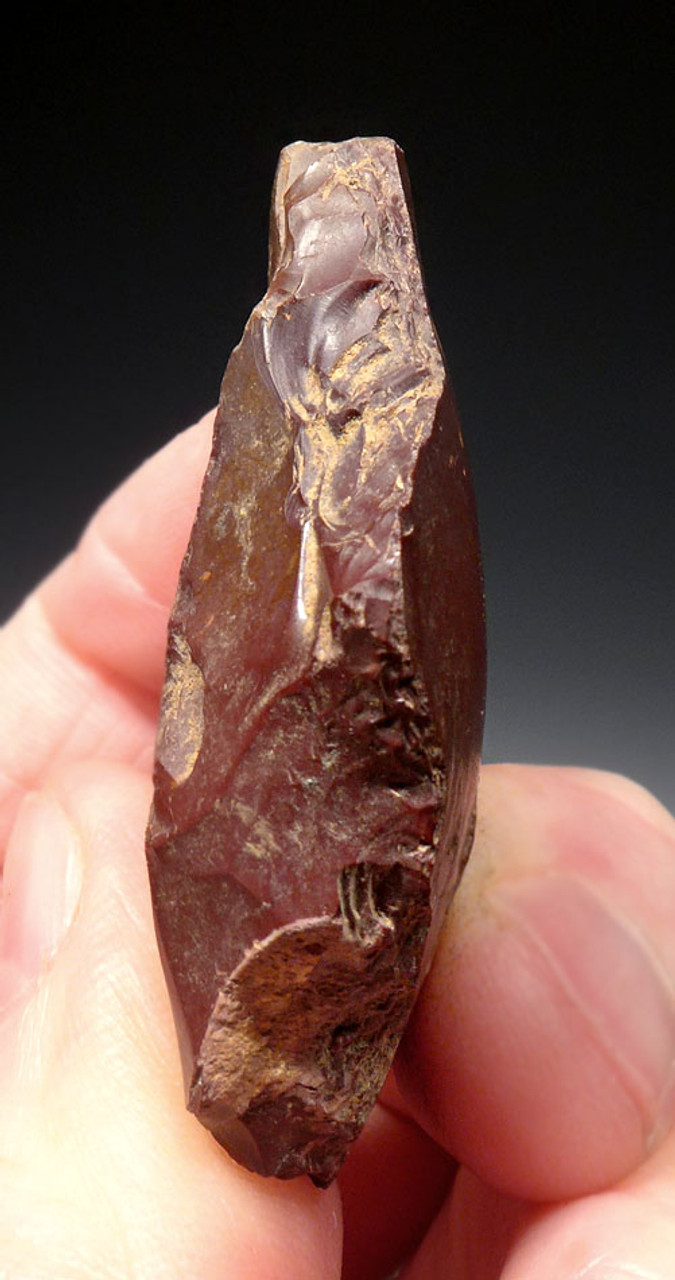 WINE RED JASPER NEANDERTHAL SIDE SCRAPER MOUSTERIAN FLAKE TOOL FROM FONTMAURE FRANCE *M396