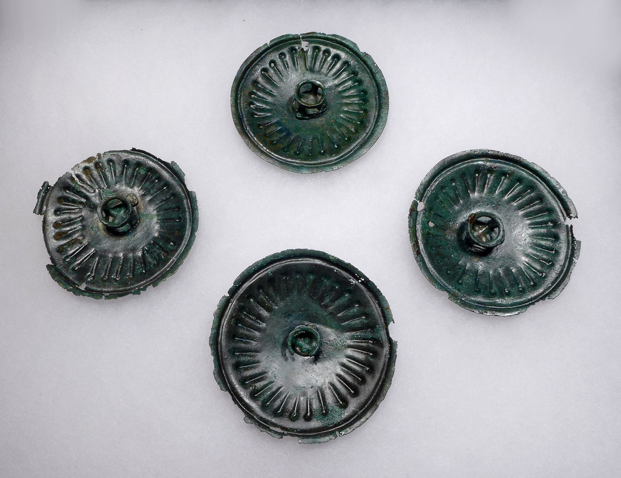 FOUR ANCIENT SASSANIAN PERSIAN CAVALRY BRONZE PHALERAE DISK ORNAMENTS FROM A KNIGHTS HORSE *LUR141