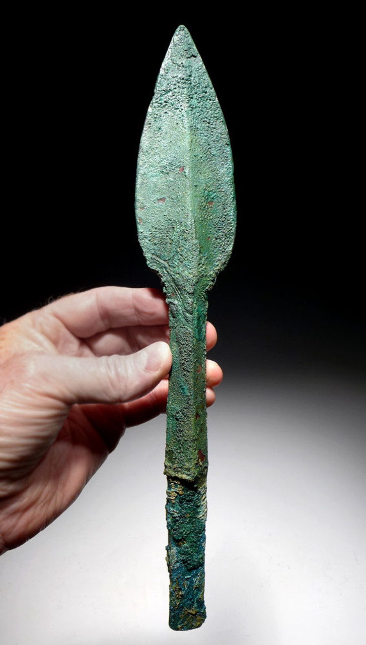 MASSIVE ANCIENT BRONZE ARTILLERY JAVELIN BOLT SPEARHEAD FROM THE NEAR EAST  *LUR160