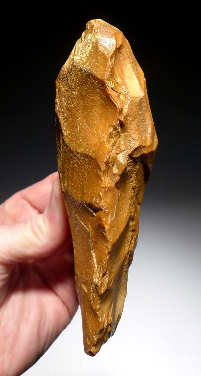 FINEST PREHISTORIC HOMO ERECTUS ACHEULEAN GOLDEN FLINT HAND AXE FROM FRANCE WITH TIP WEAR  *ACH411