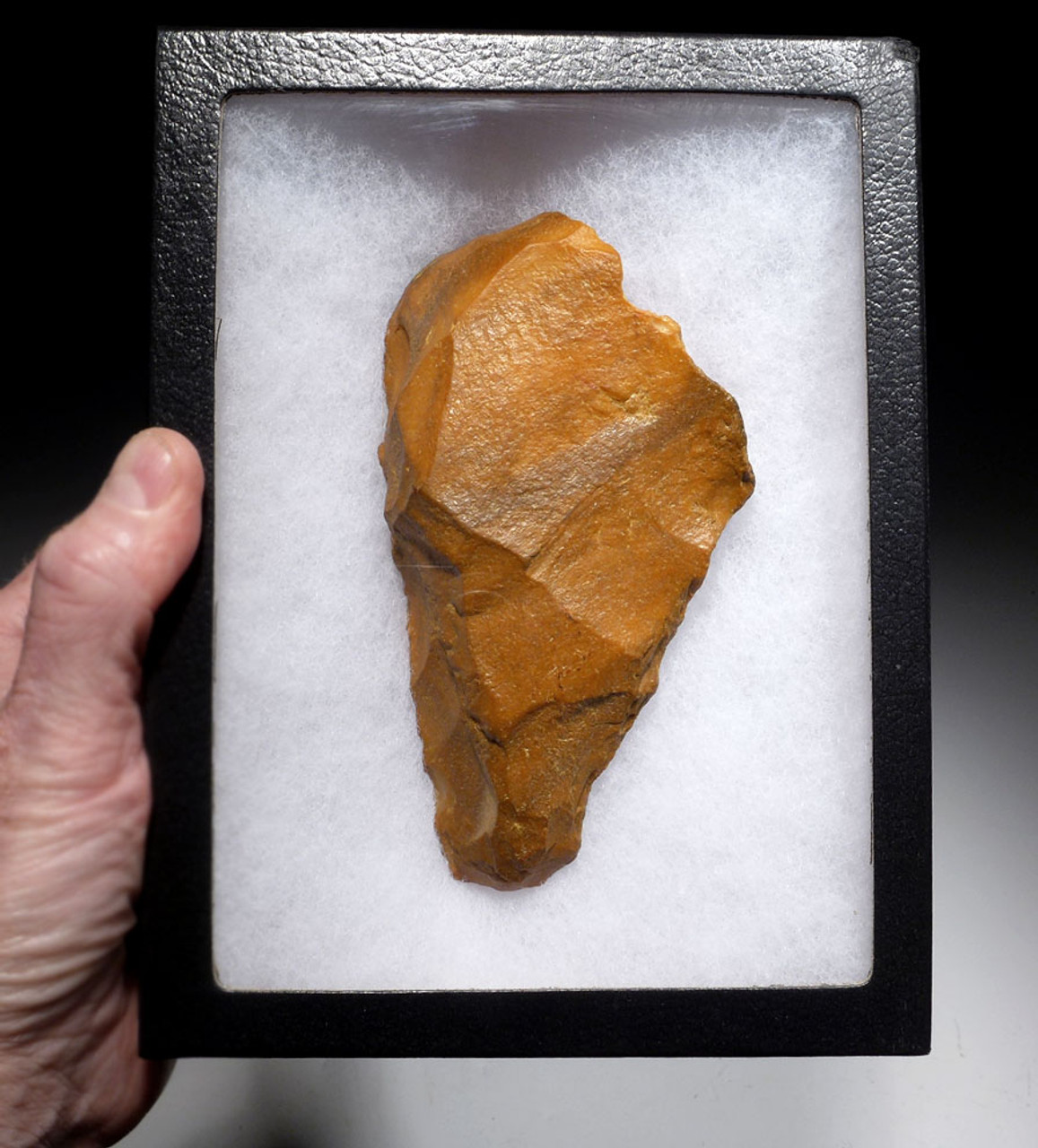 FINEST PREHISTORIC HOMO ERECTUS ACHEULEAN GOLDEN FLINT HAND AXE FROM FRANCE WITH TIP WEAR  *ACH411