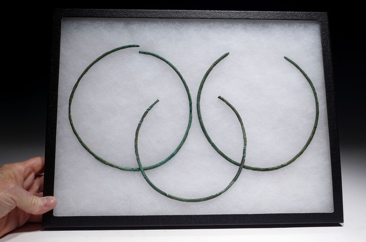 HOARD SET OF 3 MIDDLE BRONZE AGE JEWELRY TWISTED TORC NECKLACE RINGS FROM ANCIENT GERMANY  *EB003