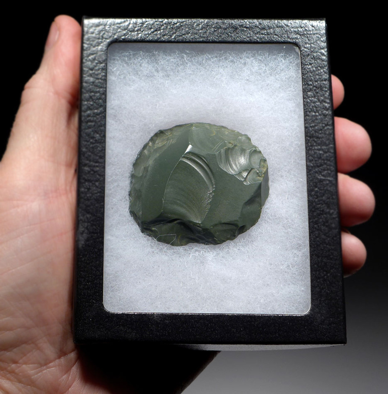 TENERIAN AFRICAN NEOLITHIC ROBUST GREEN JASPER DISCOIDAL SCRAPER FROM THE PEOPLE OF THE GREEN SAHARA *CAP240