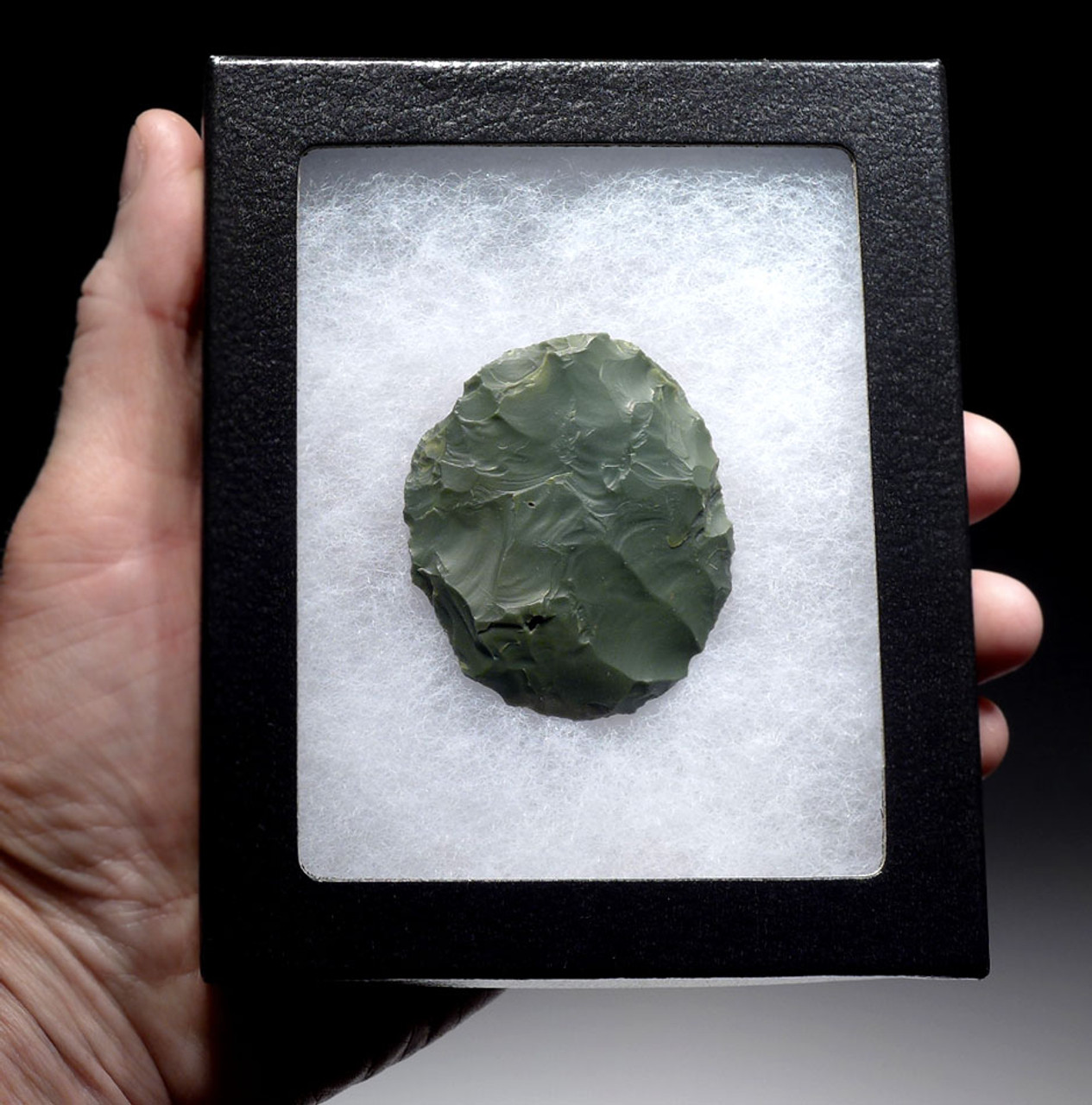 EXCEPTIONAL TENERIAN AFRICAN NEOLITHIC GREEN JASPER DISK SCRAPER FROM THE PEOPLE OF THE GREEN SAHARA *CAP239
