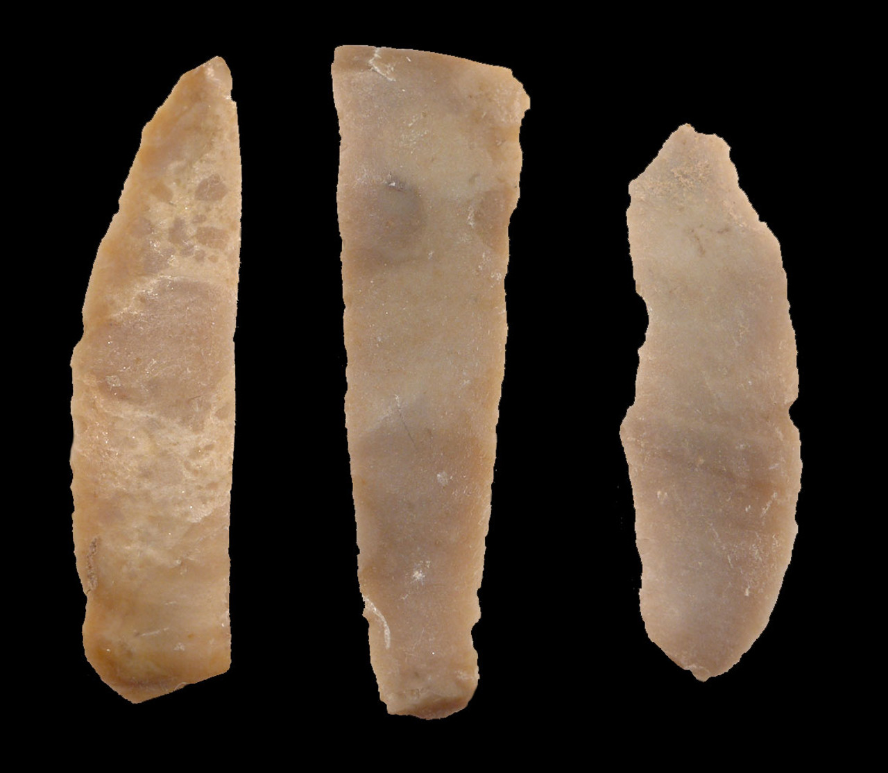 THREE RARE FLINT MIDDLE EAST NEOLITHIC KNIFE BLADES FROM THE CRADLE OF CIVILIZATION IN JORDAN  *N186