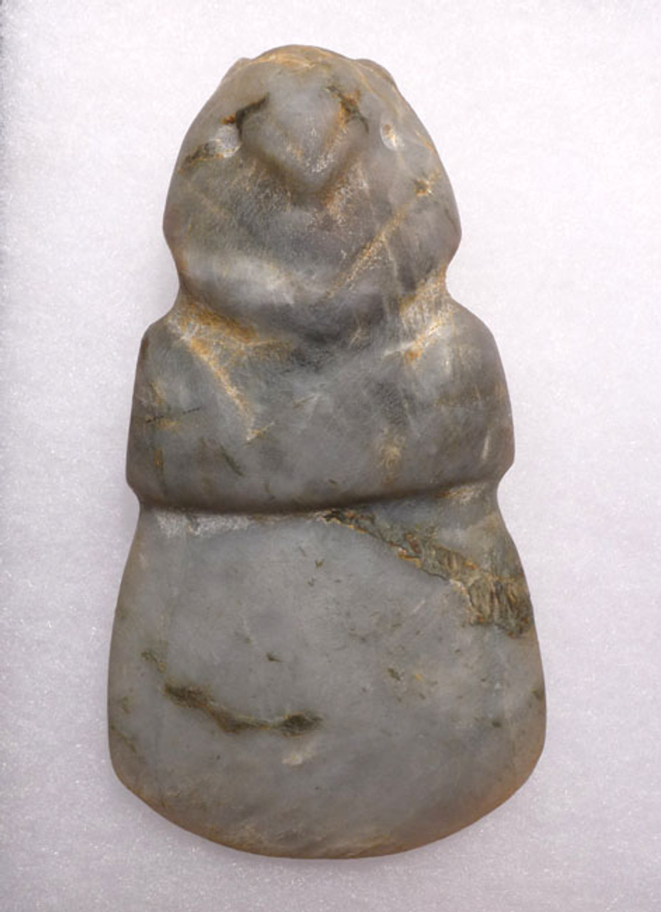 LARGE ROBUST PRE-COLUMBIAN JADE AXE GOD PENDANT  *PC105
