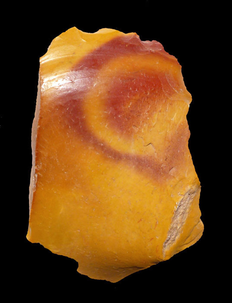 RARE YELLOW JASPER NEANDERTHAL MOUSTERIAN SCRAPER WITH RED EYE FROM FONTMAURE FRANCE  *M364