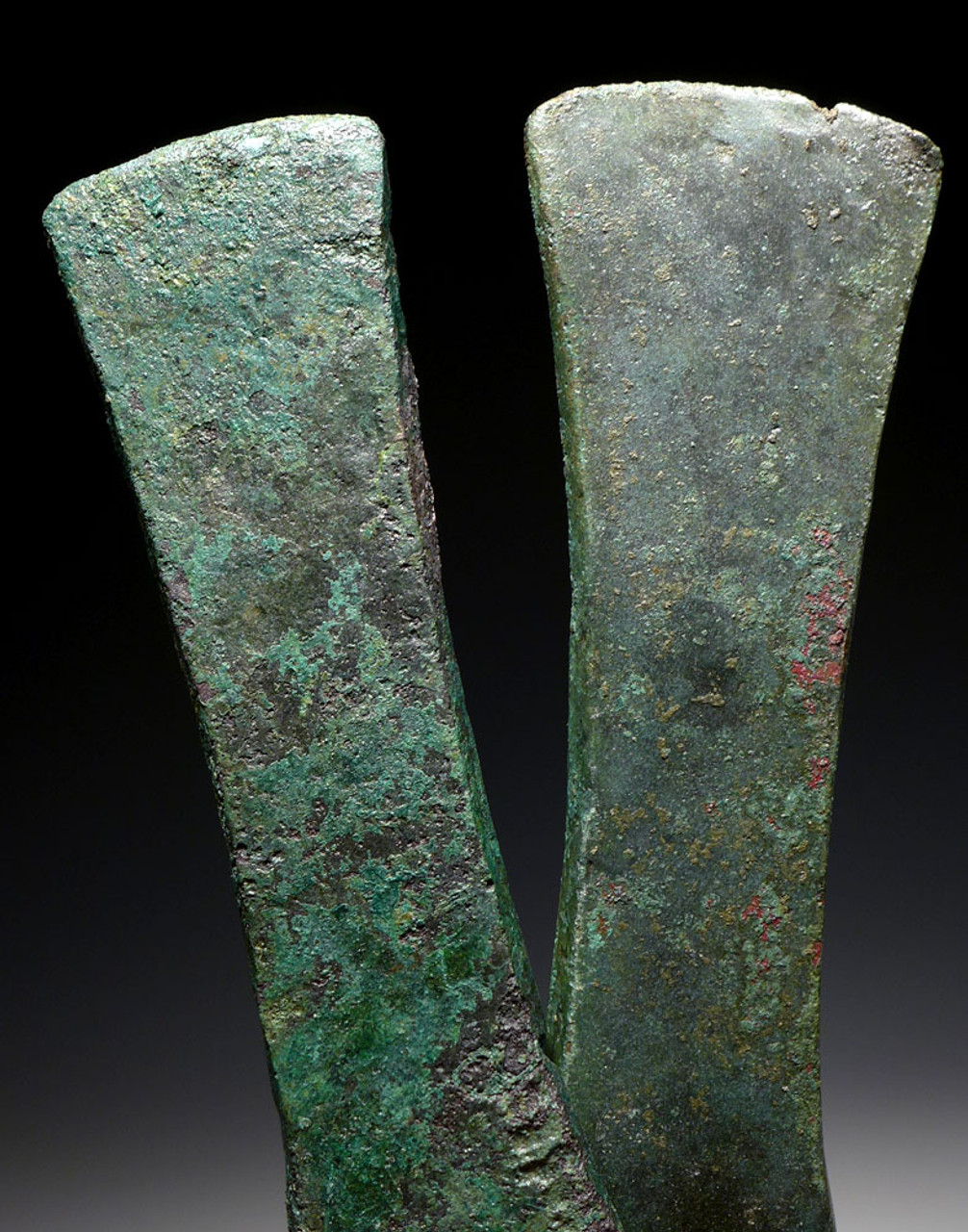 PAIR OF ANCIENT BRONZE SHOULDERED HUB AXES FROM NEAR EAST LURISTAN  *NE212