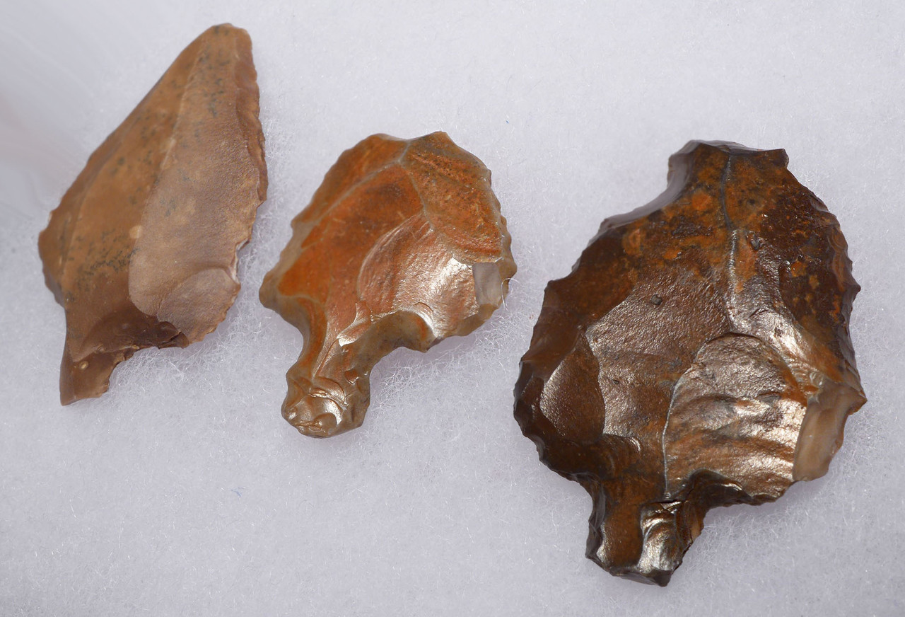 THREE ATERIAN TANGED POINTS - OLDEST PREHISTORIC ARROWHEAD FROM MIDDLE PALEOLITHIC AFRICA  *AT092