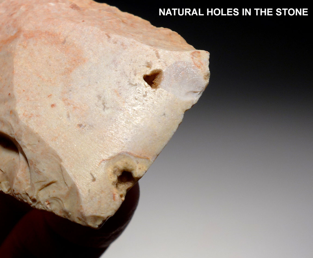 BEAUTIFUL PINK AND WHITE CAPSIAN AFRICAN NEOLITHIC KNAPPED CELT WAR AXE  *CAP249