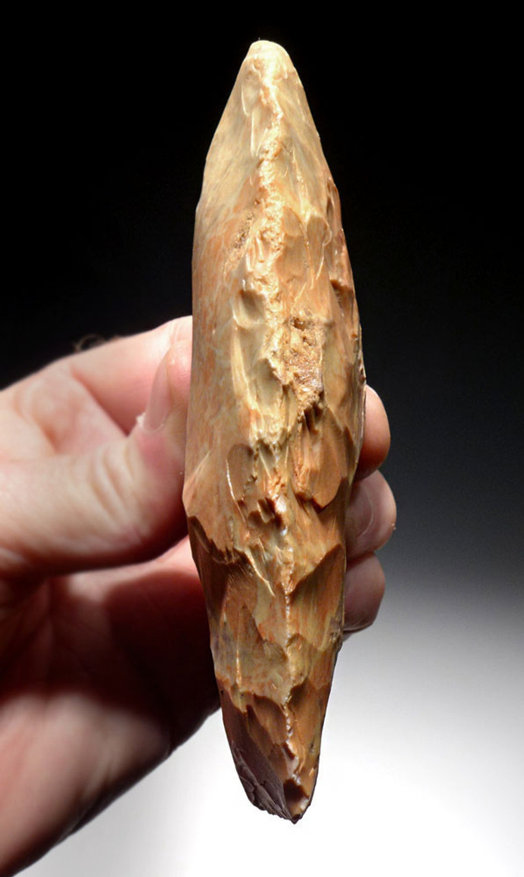 STUNNING SALMON RED AND WHITE PRESTIGE CAPSIAN AFRICAN NEOLITHIC CELT WAR AXE  *CAP247