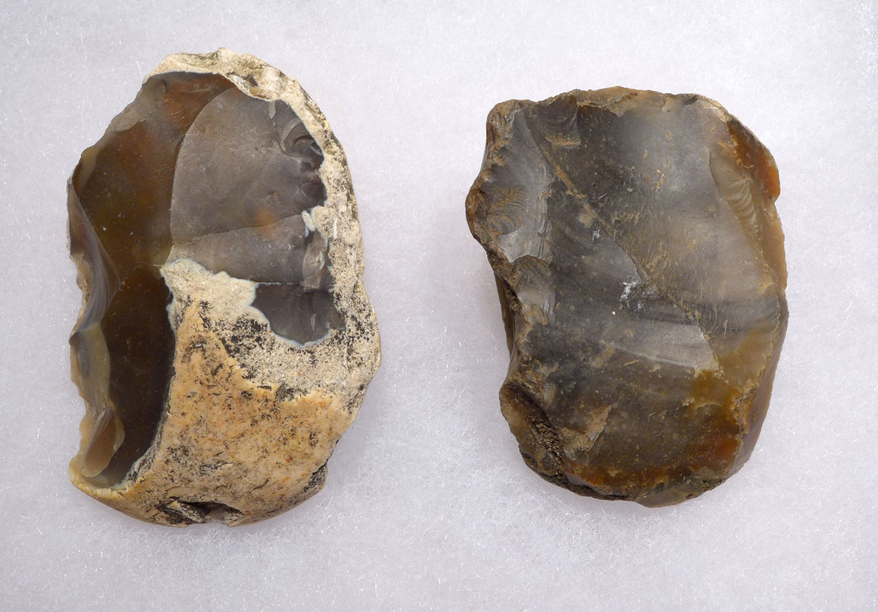TWO PREHISTORIC BRITISH STONE AGE OLDOWAN PEBBLE TOOL SCRAPERS  *PB142