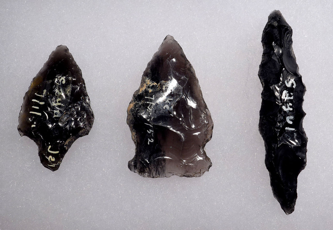 THREE DIFFERENT TYPE EXCEPTIONAL ATLATL PRE-COLUMBIAN OBSIDIAN SPEARHEADS FROM THE HEFLIN COLLECTION  *PC304