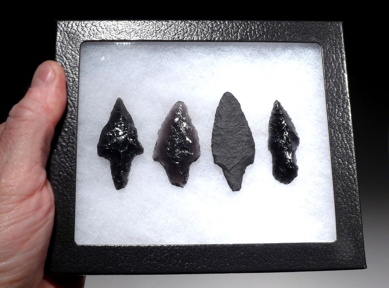 FOUR FINEST ATLATL PRE-COLUMBIAN OBSIDIAN AND BASALT SPEARHEADS  OF DIFFERENT TYPES  *PC315
