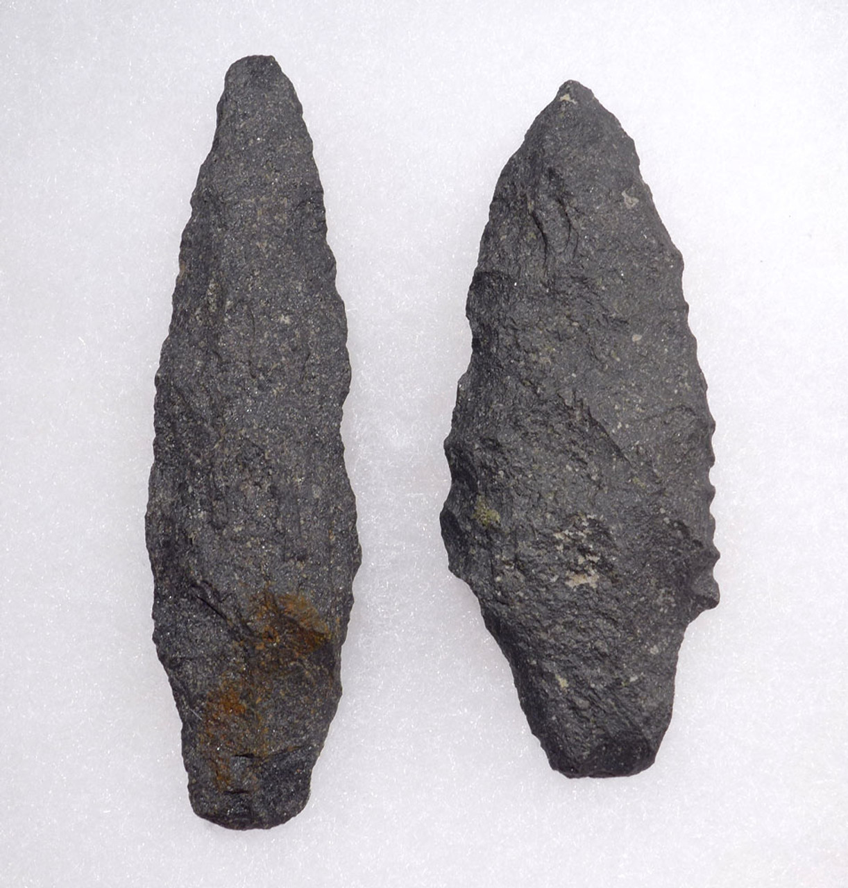 TWO RARE BASALT ATLATL PRE-COLUMBIAN SPEARHEADS  *PC322