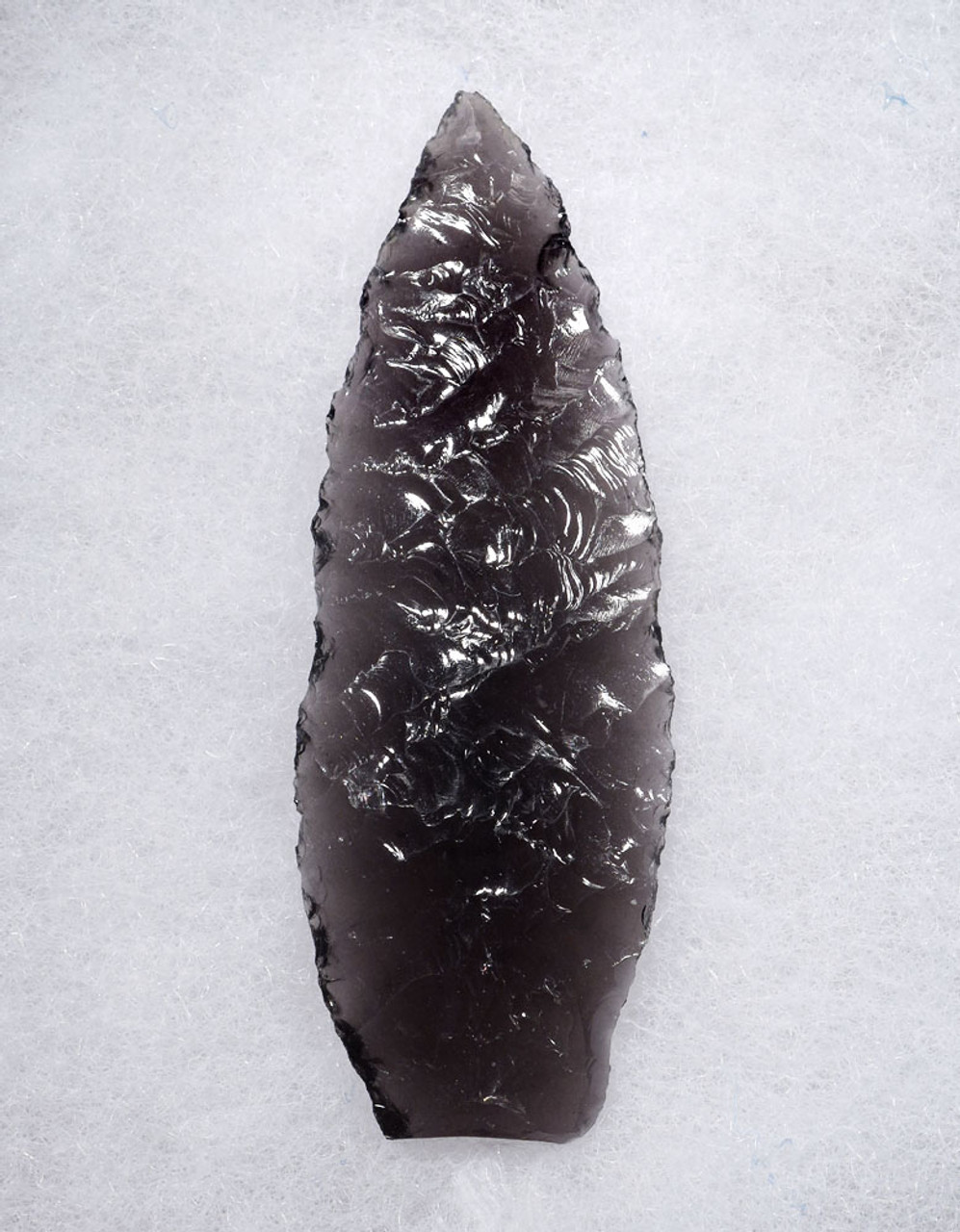 FINEST LARGE PRE-COLUMBIAN ATLATL LEAF POINT SPEARHEAD OF TRANSLUCENT OBSIDIAN  * PC310