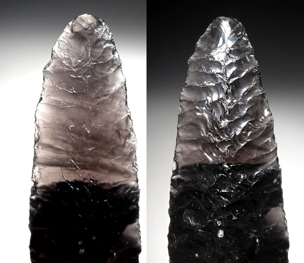 INCREDIBLE LARGE PRE-COLUMBIAN ATLATL SPEARHEAD IN TRANSLUCENT BANDED OBSIDIAN * PC309