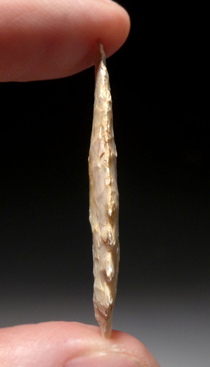 RARE FINEST CAPSIAN AFRICAN NEOLITHIC ECCENTRIC BASE LEAF ARROWHEAD  *CAP255