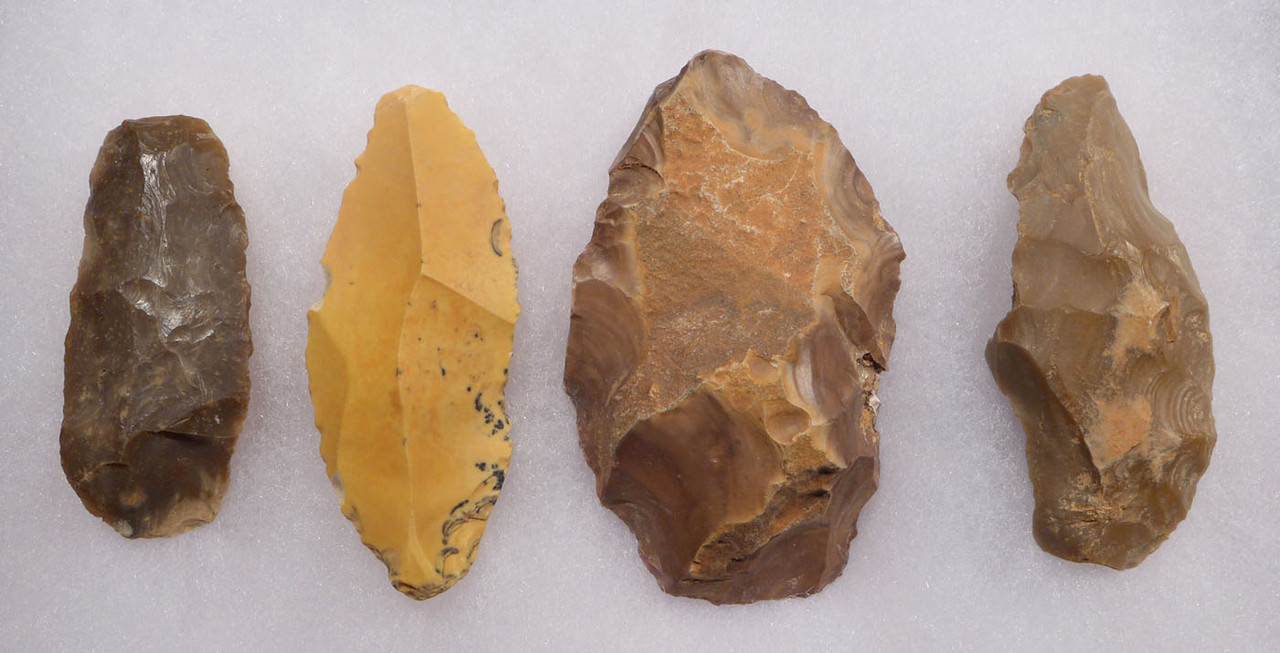 FOUR MIDDLE PALEOLITHIC AFRICAN PREHISTORIC ATERIAN FLAKE TOOLS  *AT108