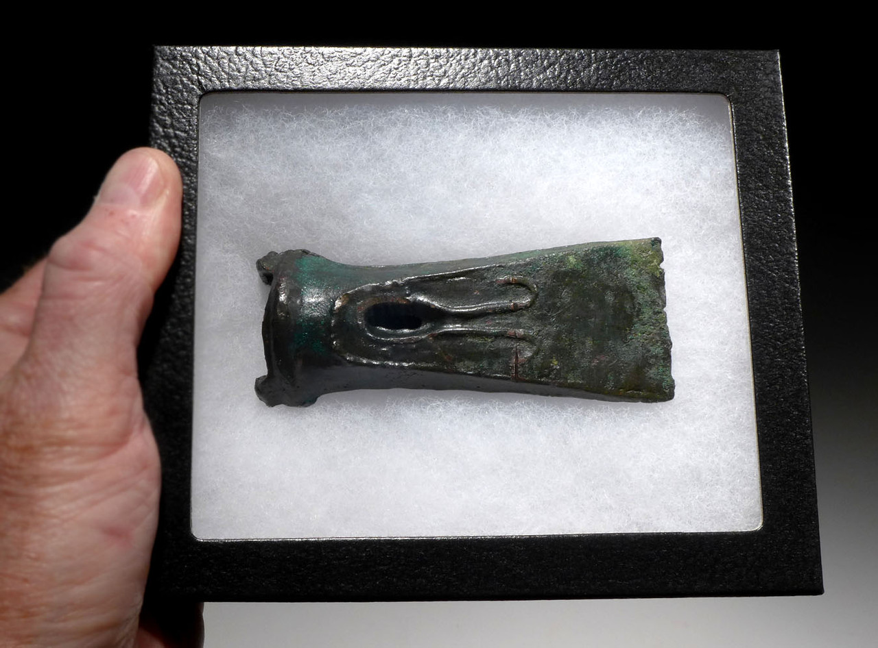ANCIENT CELTIC SOCKETED BRONZE AXE WITH ANCHOR DESIGN  *CEL016