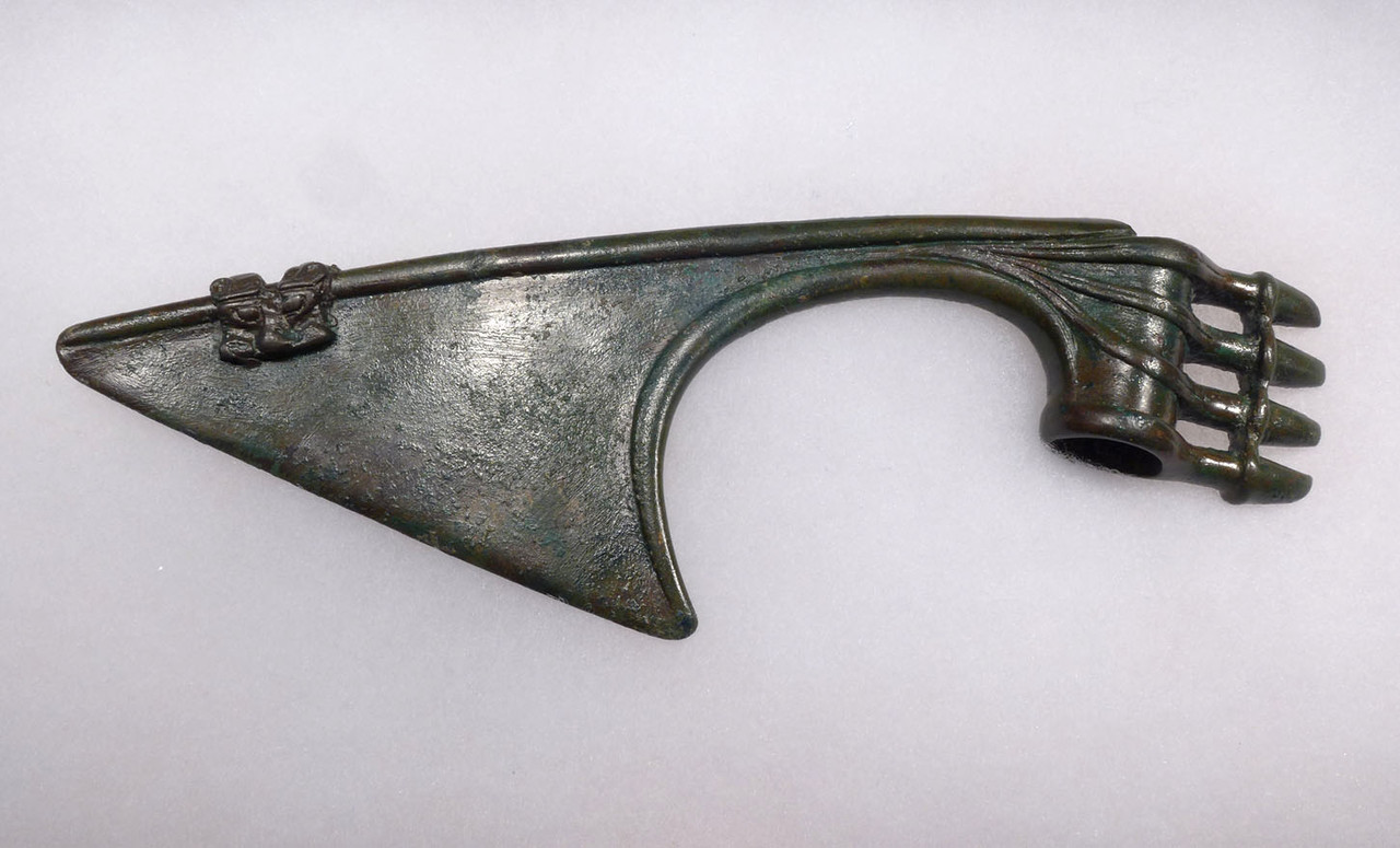 LARGE MUSEUM-CLASS ANCIENT ROYAL LURISTAN BRONZE SPIKE AXE WITH LION HEAD  *LUR174