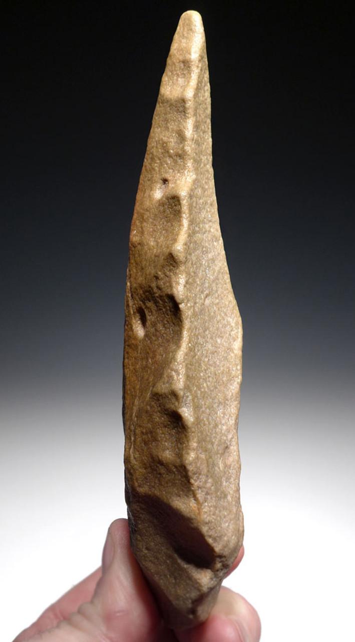 FINEST UNBROKEN AFRICAN STONE AGE ACHEULEAN FICRON HAND AXE WITH RARE NARROW TIP  *ACH294