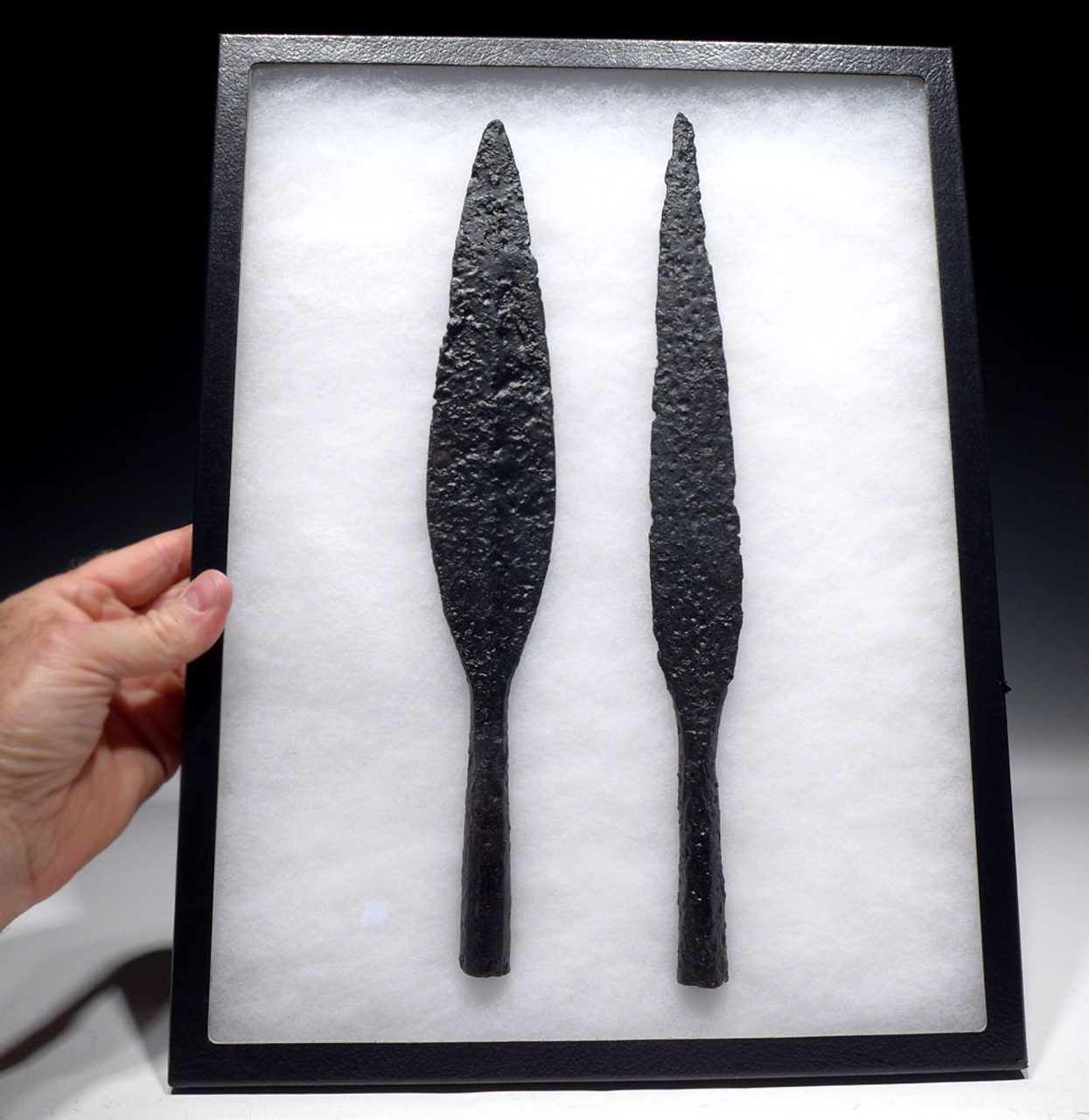 SET OF BOTH TYPES OF ANCIENT ROMAN BYZANTINE CAVALRY SPEARHEADS THROWING JAVELIN AND LANCE  *R272