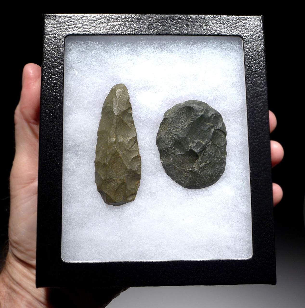 RARE TENERIAN AFRICAN NEOLITHIC GREEN JASPER KNIFE AND DISK SCRAPER FROM THE PEOPLE OF THE GREEN SAHARA  *CAP261