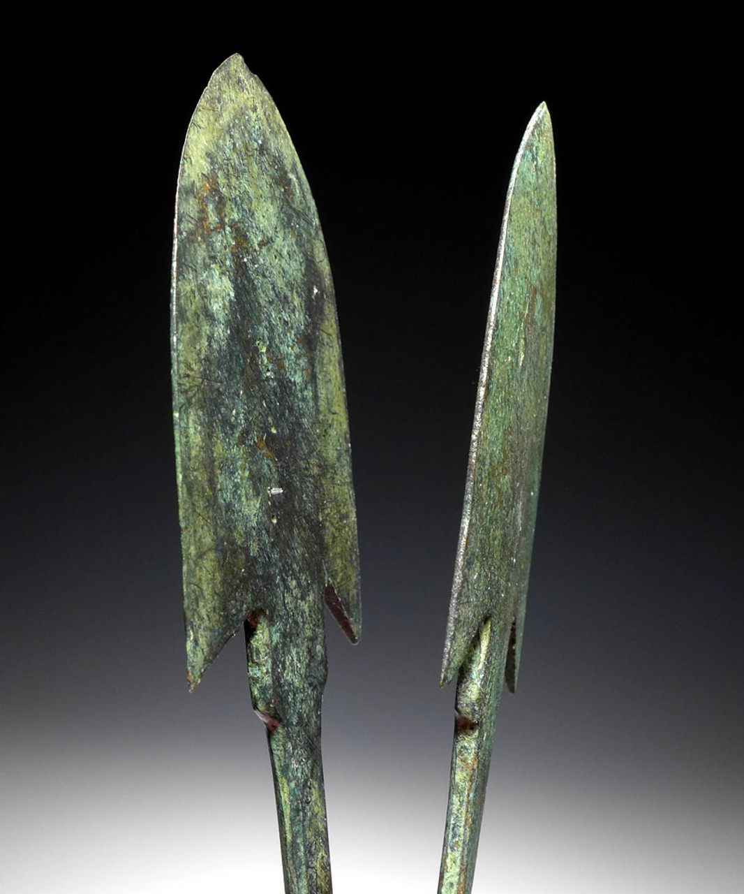 TWO VERY LARGE ANCIENT NEAR EASTERN BARBED BRONZE THROWING JAVELIN SPEARHEADS  *NE218