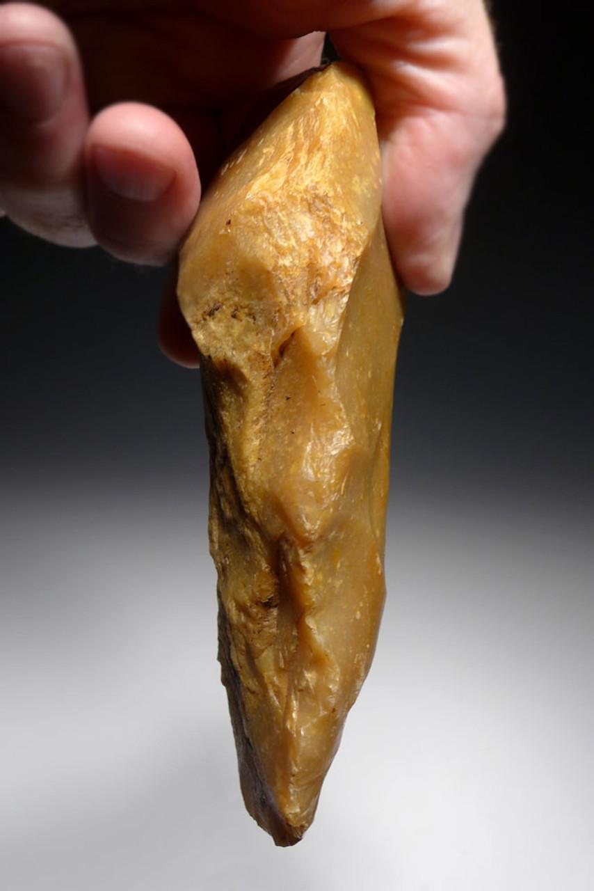 FINEST PREHISTORIC HOMO ERECTUS ACHEULEAN HAND AXE FROM FRANCE IN GOLD FLINT  *ACH293