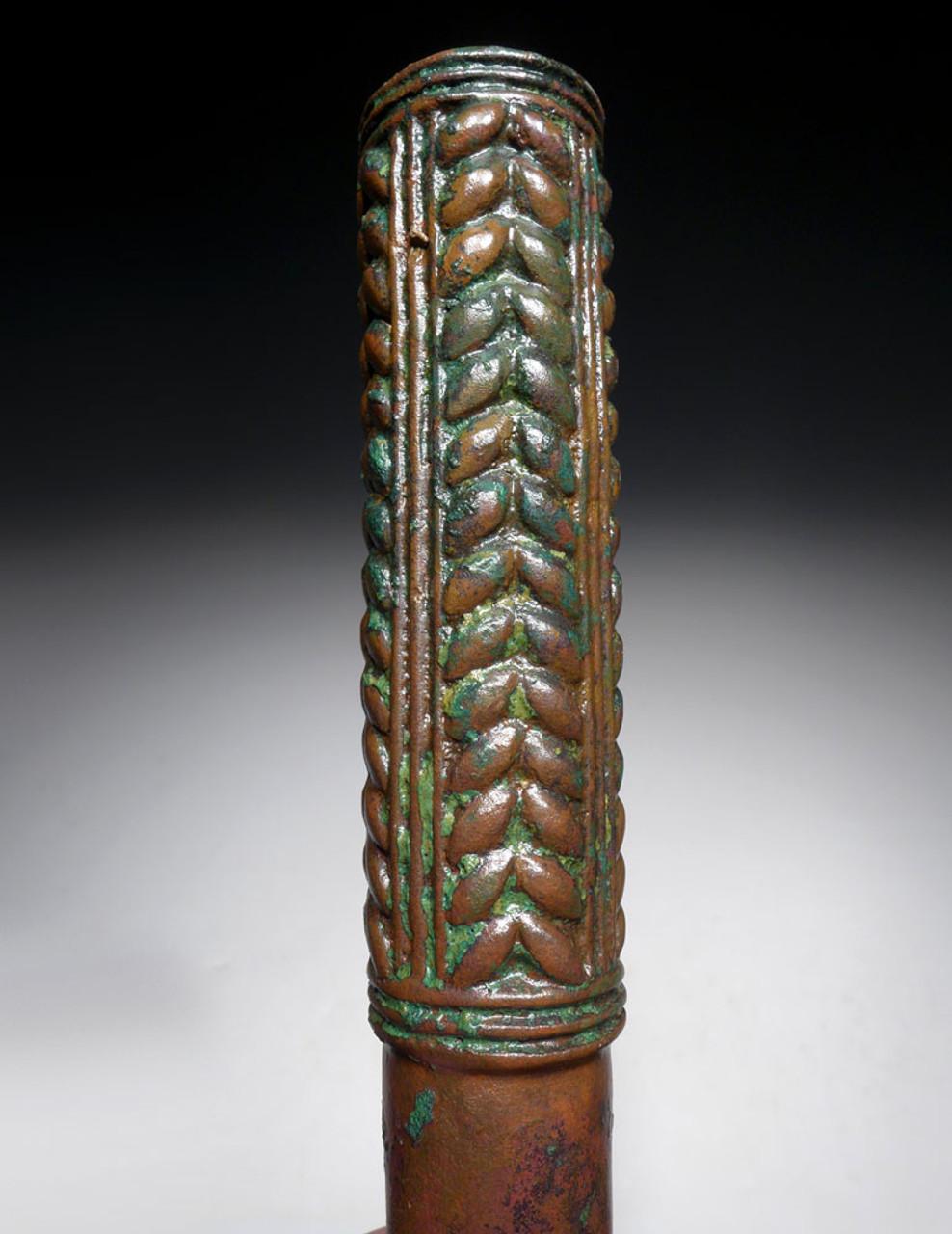FINEST ANCIENT BRONZE LURISTAN WAR MACE CUDGEL WITH HERRINGBONE DESIGN  *LUR175