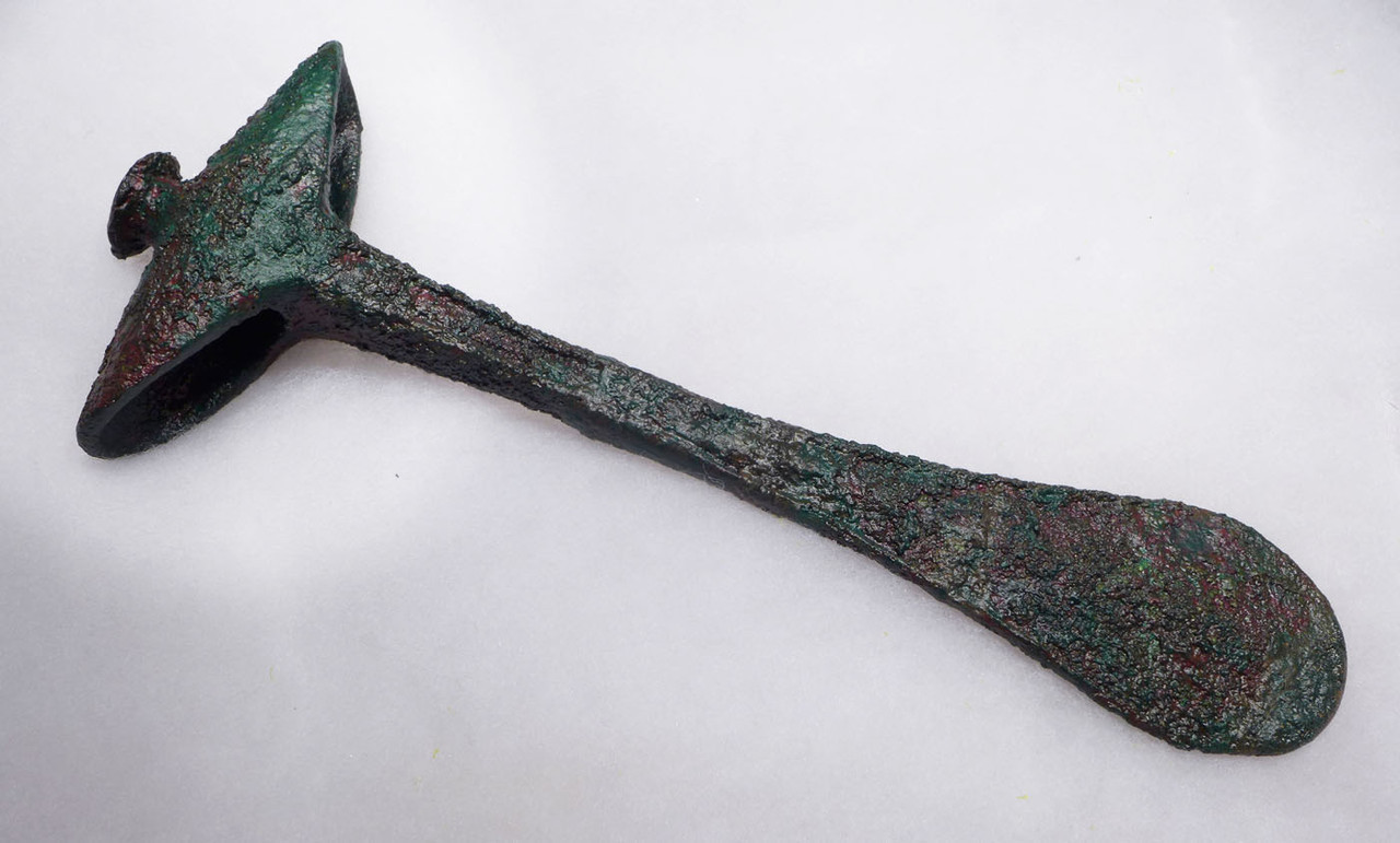 LARGE ANCIENT BRONZE LURISTAN ARMOR PIERCING WAR AXE LARGEST WE HAVE SEEN  *LUR177