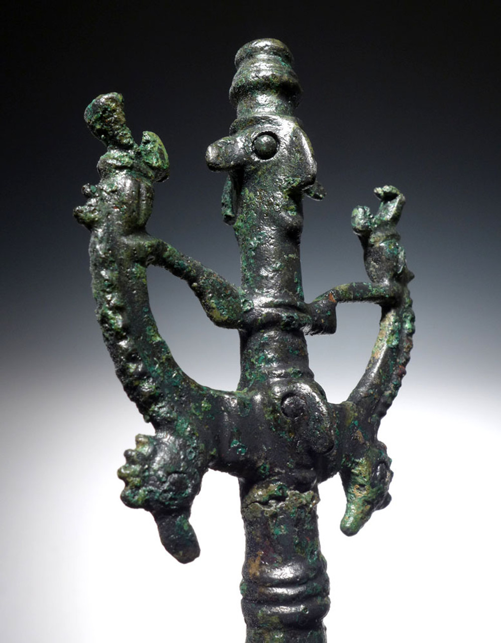 LARGE ANCIENT BRONZE MASTER OF ANIMALS FIGURAL IDOL FINIAL FROM NEAR EAST LURISTAN  *LUR184