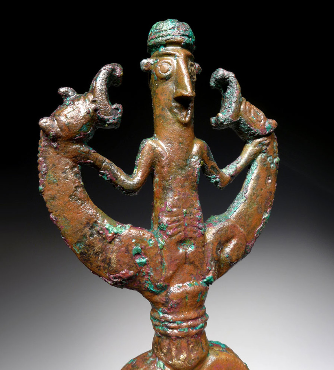 LARGE BRONZE ANCIENT ART MASTER OF ANIMALS IDOL FINIAL FIGURE FROM NEAR EASTERN LURISTAN  *LUR183