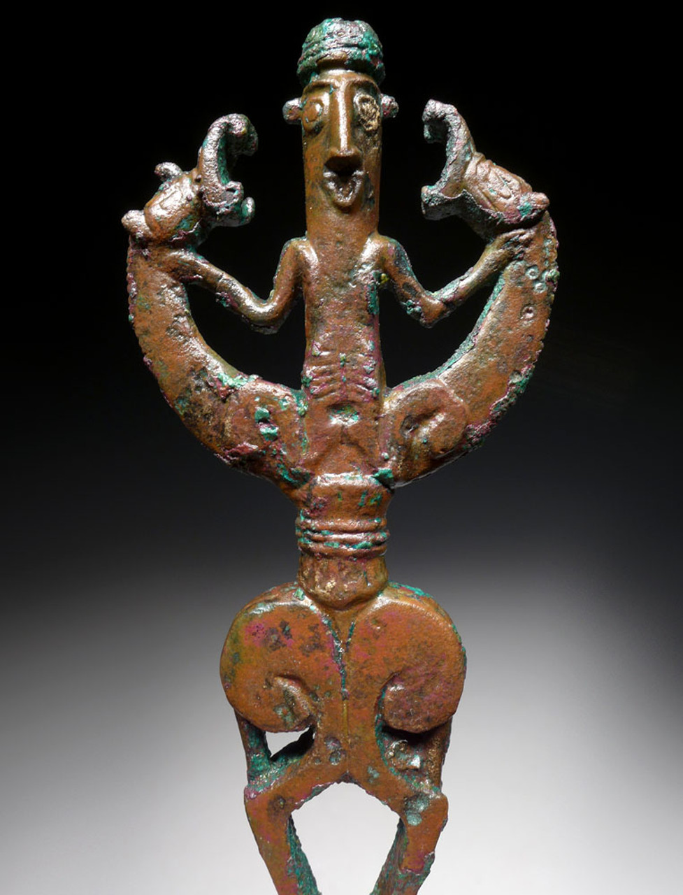 LARGE BRONZE ANCIENT ART MASTER-OF-ANIMALS IDOL FINIAL FIGURE FROM NEAR EASTERN LURISTAN  *LUR183
