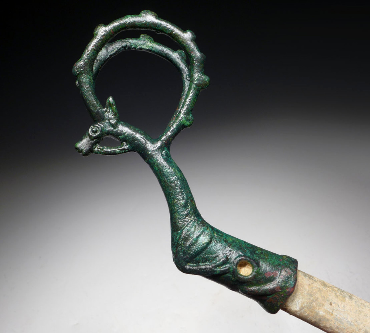 MUSEUM-CLASS ANCIENT LURISTAN WHETSTONE SWORD & DAGGER SHARPENER WITH BRONZE LEAPING IBEX HANDLE  *LUR182