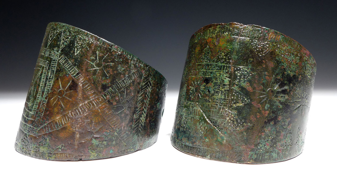EXTREMELY RARE ANCIENT NEAR EAST MATCHED PAIR OF BANGLE BRACELET CUFFS OF DECORATED HAMMERED BRONZE FROM LURISTRAN  *NE222