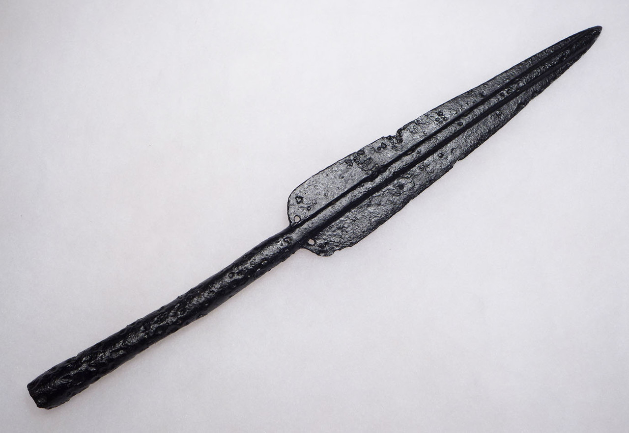 RARE BYZANTINE ROMAN CAVALRY LANCER PENNANT SPEARHEAD WITH HOLES FOR FLAG ATTACHMENT  *R276