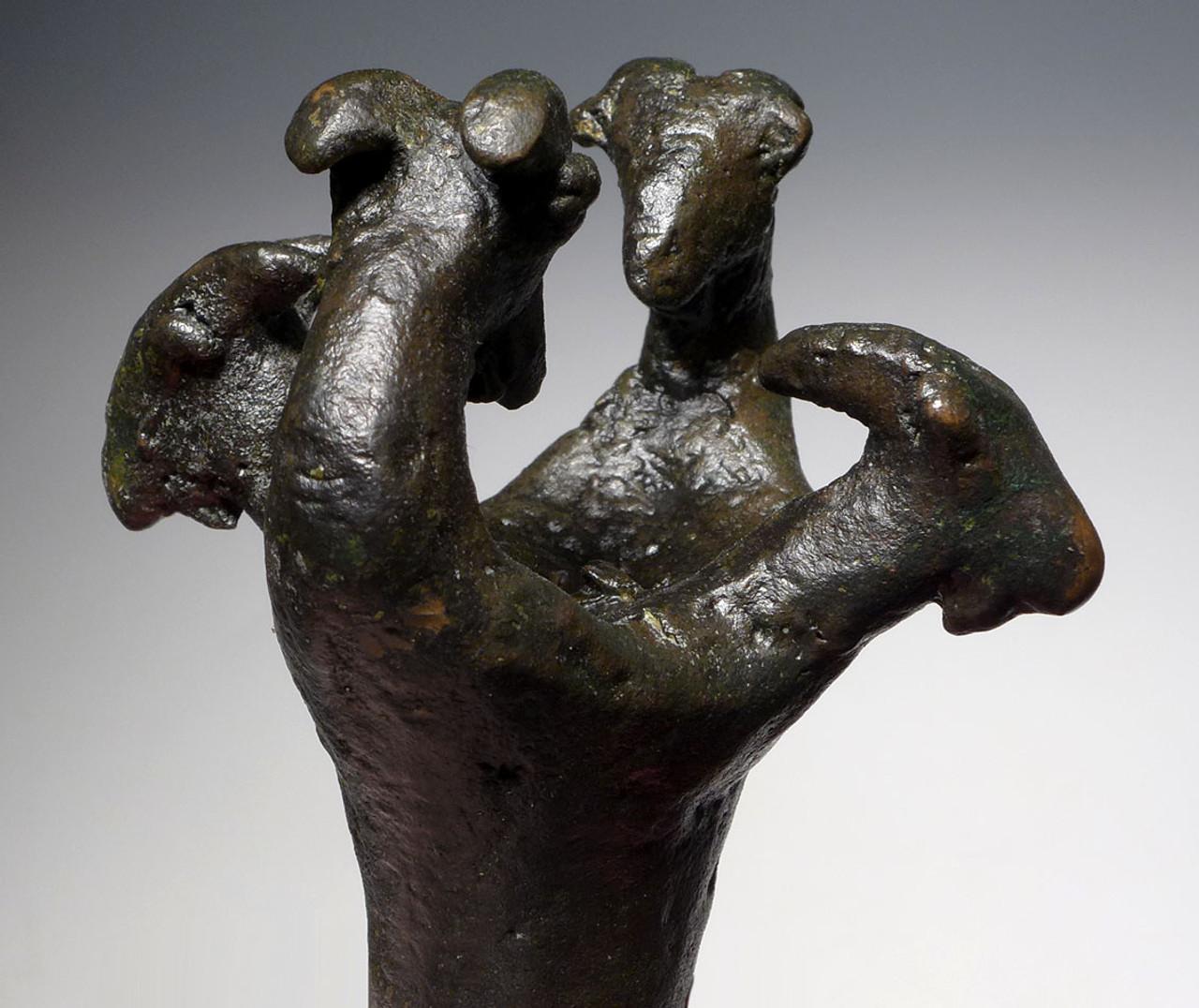 UNUSUAL ANCIENT BRONZE LURISTAN RAMS HEAD FIGURAL FINIAL MACE HEAD FROM THE NEAR EAST  *LUR185