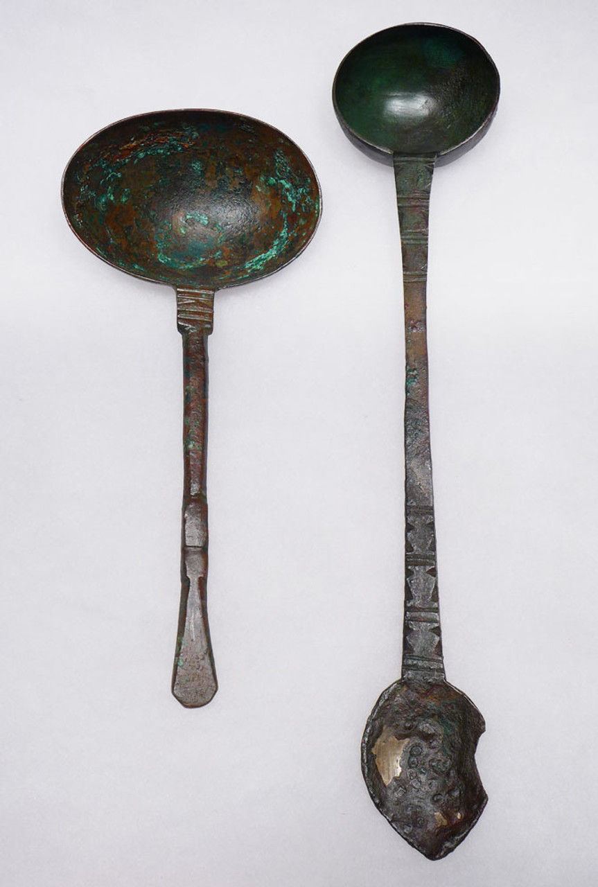 SET OF TWO BRONZE ANCIENT NEAR EASTERN CEREMONIAL LADLE SPOON IMPLEMENTS OF LUXURY  *LUR457