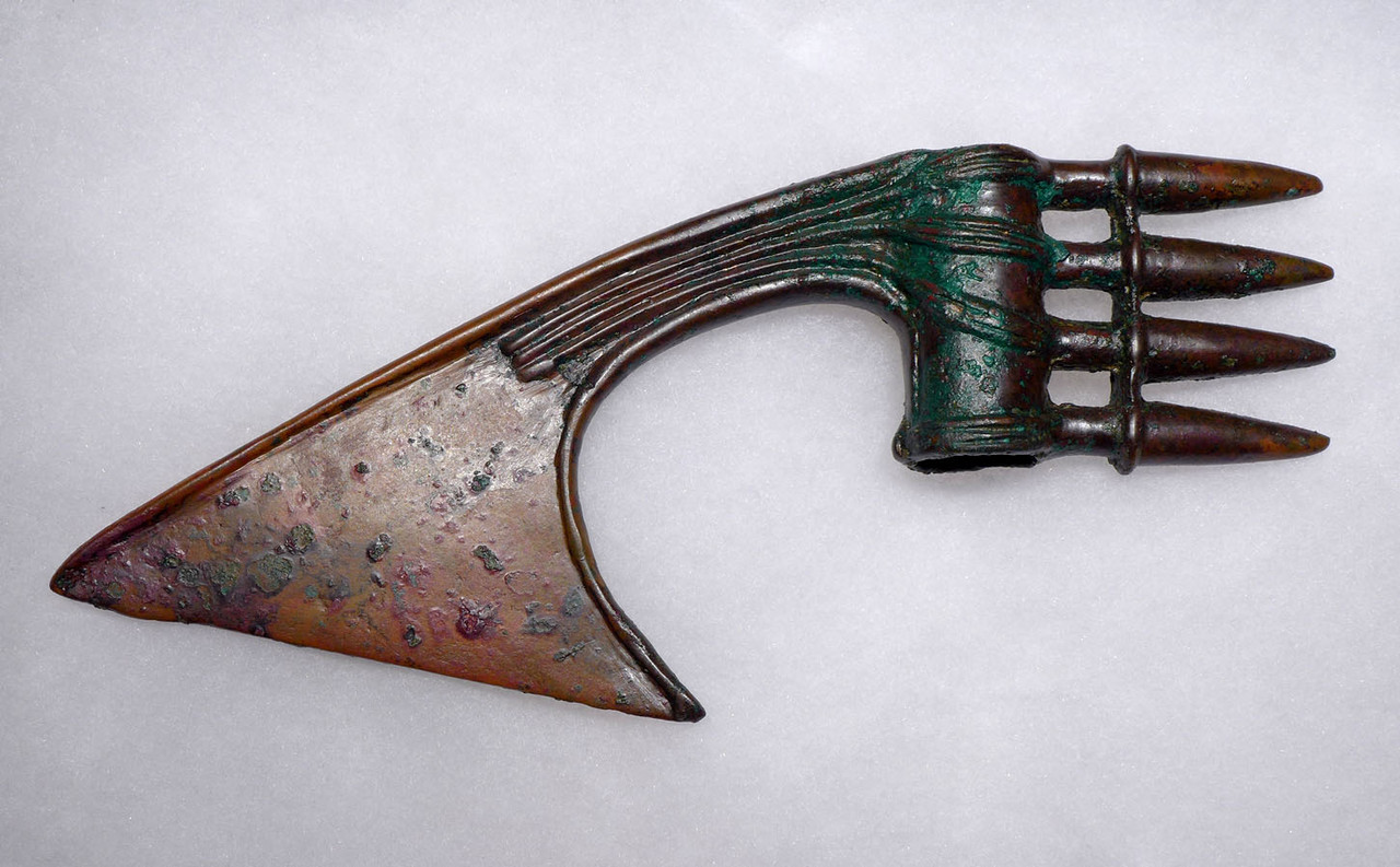 FINEST ANCIENT LURISTAN BRONZE SPIKE AXE WITH INCREDIBLE PATINA COLORS  *LUR186