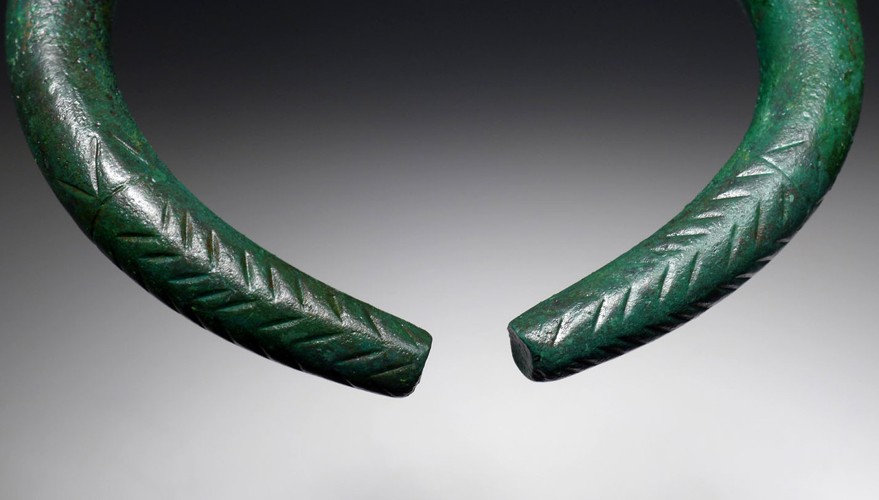 RARE ORIGINAL MATCHED PAIR OF ANCIENT LURISTAN BRONZE MASSIVE PRESTIGE BANGLE BRACELETS / ANKLETS  *LUR194