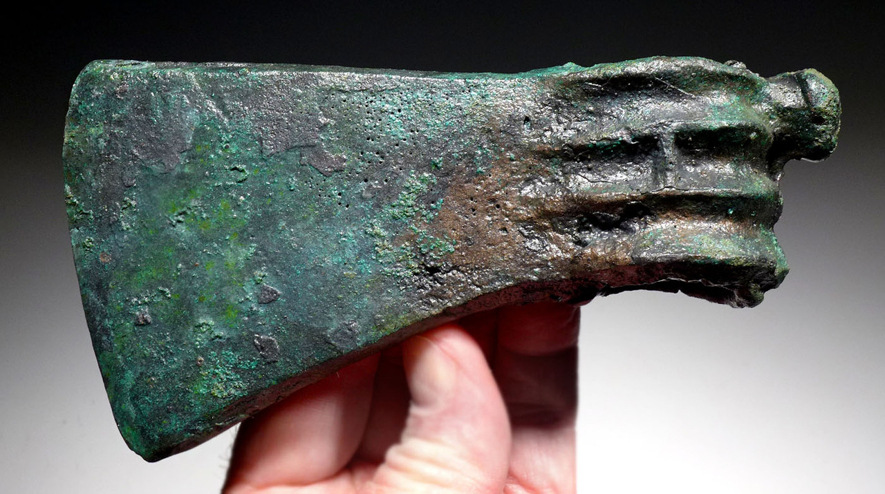 LURISTAN BRONZE ANCIENT HEAVY WAR AXE FROM THE NEAR EAST  *LUR455