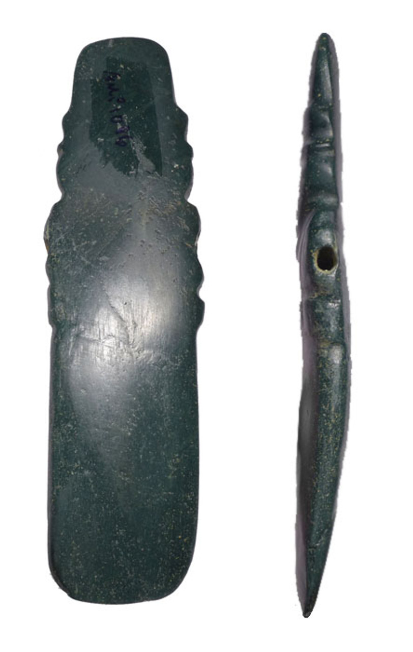 RICH BLUE GREEN SERPENTINE PRE-COLUMBIAN AXE GOD CARVED PENDANT *PC212