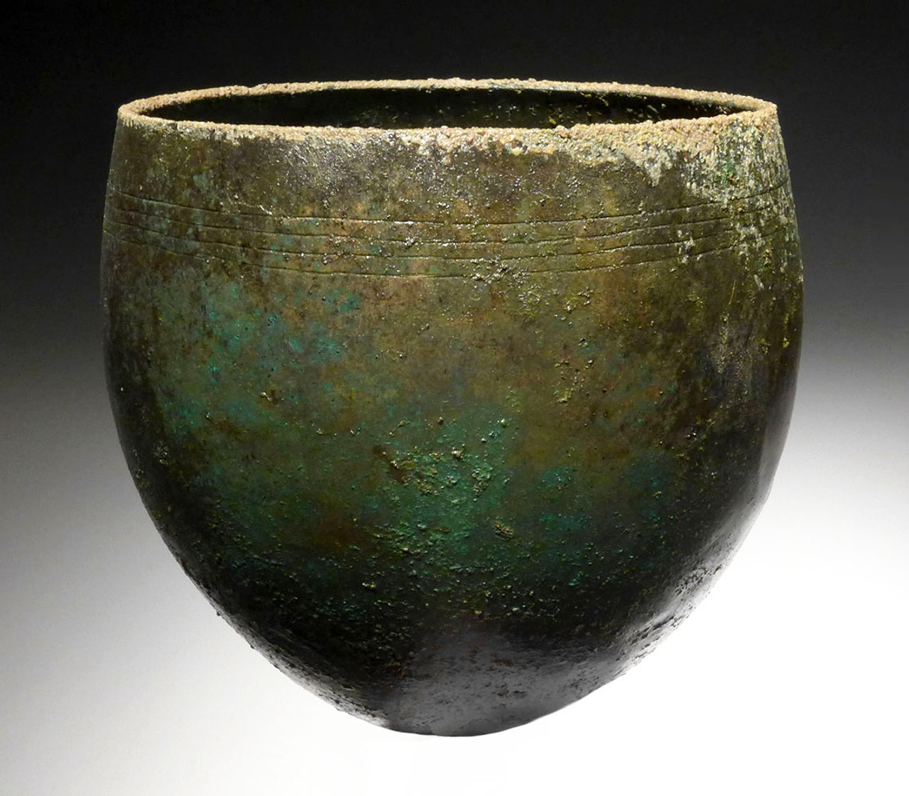 RARE DECORATED ANCIENT BRONZE URN OF THE NEAR EASTERN LURISTAN CULTURE  *LUR166